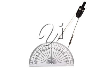 Close-up of a divider and a protractor