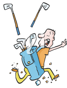 Royalty Free Clipart Image of a Running Golfer