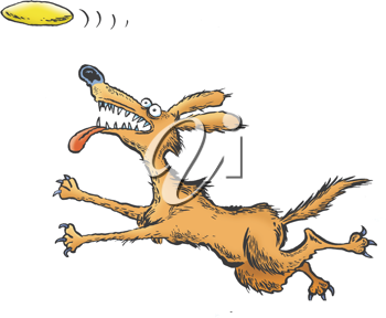Royalty Free Clipart Image of a Dog Catching a Frisbee