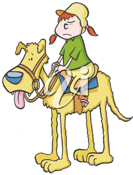 Royalty Free Clipart Image of a Girl on a Big Dog
