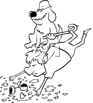 Royalty Free Clipart Image of a Dog Tripping a Man With a Cane