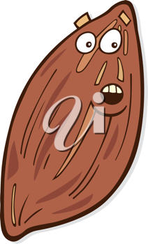 Royalty Free Clipart Image of a Cartoon Almond