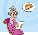 Royalty Free Clipart Image of an Old Woman Reading Something and Thinking of a Young Girl