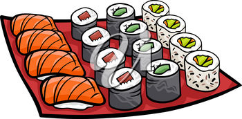 Cartoon Illustration of Sushi Meal Food Objects