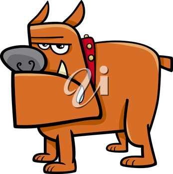 Cartoon Illustration of Bull Dog in Collar