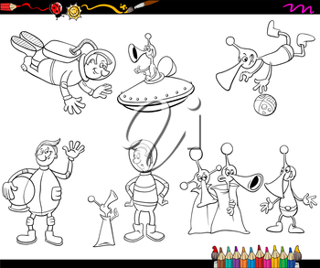 Coloring Book Cartoon Illustration of Spaceman and Aliens Characters Set