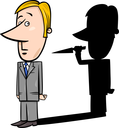 Concept Cartoon Illustration of Businessman and his Evil Shadow with Knife
