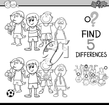 Black and White Cartoon Illustration of Finding Differences Educational Activity for Preschool Children with Little Boys Group for Coloring Book