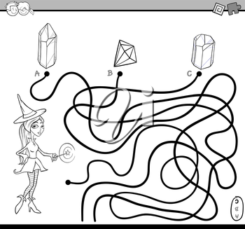 Black and White Cartoon Illustration of Educational Paths or Maze Puzzle Activity with Witch Character Coloring Book