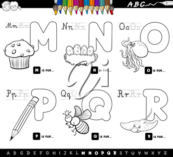 Black and White Cartoon Illustration of Capital Letters Alphabet Educational Set for Reading and Writing Learning for Children from M to R Coloring Book