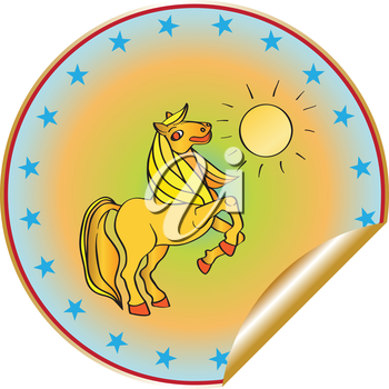 Royalty Free Photo of a Prancing Horse on a Sticker