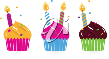 Royalty Free Clipart Image of Three Cupcakes With Candles