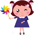 Royalty Free Clipart Image of a Little Girl With a Pinwheel
