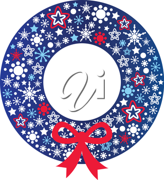 Beautiful christmas wreath. Vector Illustration