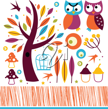 Retro autumn owls and design elements. Vector