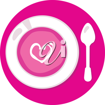 Love pink soup with heart for Valentines day. Vector