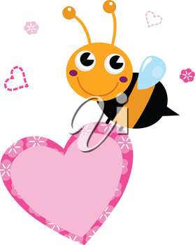 Happy cute Ladybug with pink heart. Vector Illustration