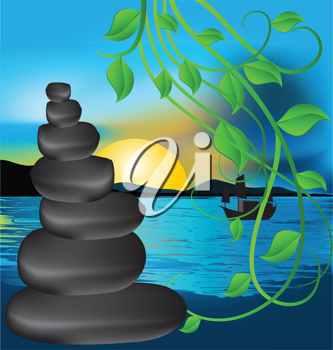 Royalty Free Clipart Image of Lava Stones, Leaves and the Sea