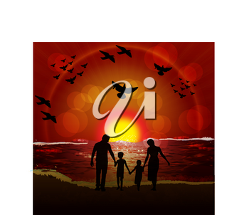 Royalty Free Clipart Image of a Silhouetted Family at the Beach