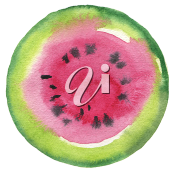 Watermelon fruit. Circle watercolor painted button background. Texture paper. Isolated.