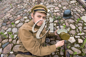 Royalty Free Photo of a Soldier on the Ground
