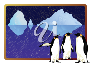 Royalty Free Clipart Image of an Arctic Penguin Backgrounds