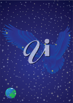 Royalty Free Clipart Image of an Eagle Constellation