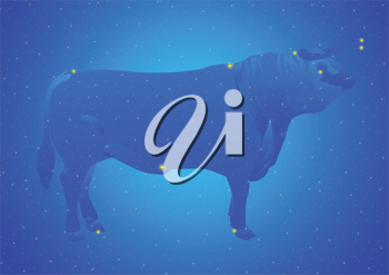 Royalty Free Clipart Image of a Taurus Constellation