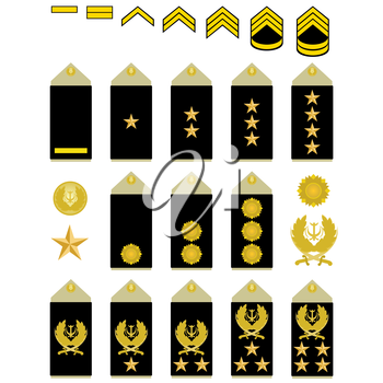 Military ranks and insignia of the world. The illustration on a white background.