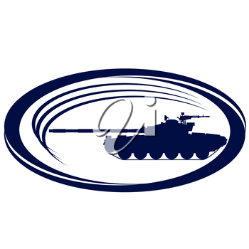 The contour of the modern tank. Illustration on white background.