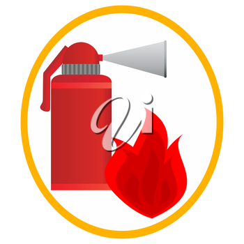 Fire extinguisher and fire in an oval frame. Illustration on white background.