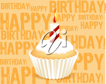 Royalty Free Clipart Image of a Happy Birthday Background with a Frosted Cupcake