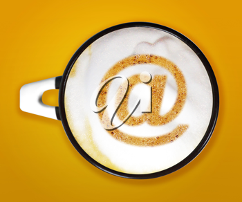 coffee art, A cup of cappuccino with email sign on yellow background.