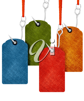 price tags with fishing hook isolated on white background.