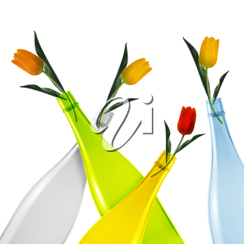 colored empty glass bottles and tulips on white background.
