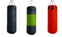 Punching bag for boxing or kick boxing sport, isolated on white background.