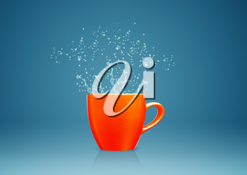 colorful mug with water splashes.