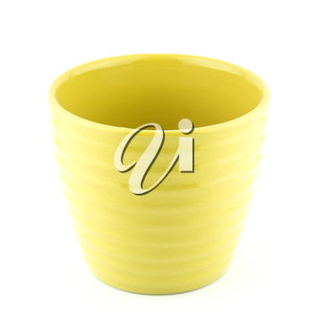 pottery flowerpot on white background.