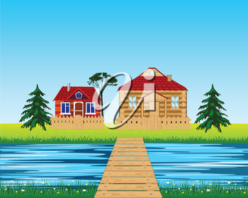Vector illustration of the rural landscape with river