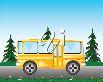 Vector illustration of the wanted bus goes on road