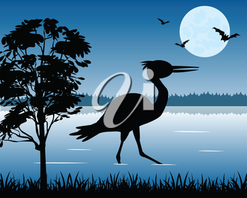 The Bird stork on wood lake in the night.Vector illustration
