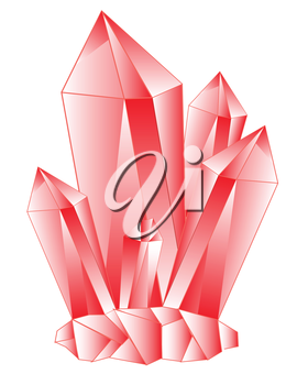 Red crystal on white background is insulated