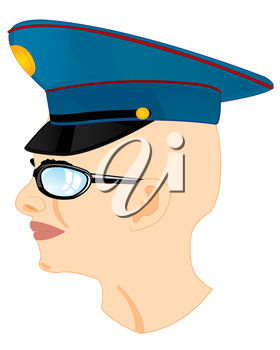 Bald young person in service cap on white background