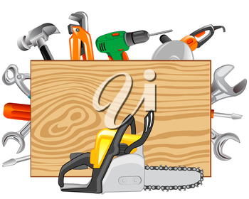 Much varied electric tools on white background is insulated