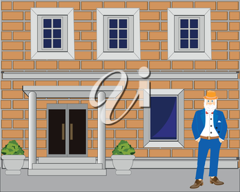 The Facade of the building from brick.Vector illustration