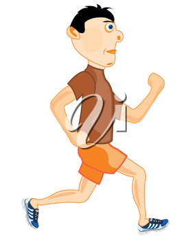 Young man athlete concerns with running.Vector illustration