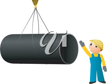 Royalty Free Clipart Image of a Large Pipe Being Loaded With a Worker Giving Directions