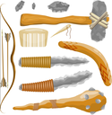 Items ancient people on white background. Vector illustration