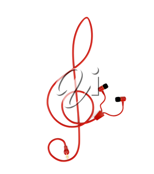 The music concept headphones with a red cable in the form of a treble clef isolated on white background. 3d illustration.