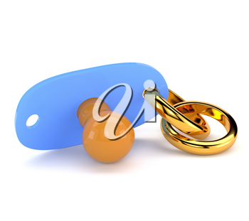 Wedding gold ring and pacifier isolated on white background. The concept of marriage and motherhood. 3d illustration.